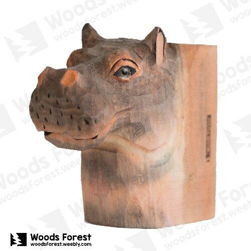 Woods Forest 木雕森林 - 動物木雕筆筒【河馬】