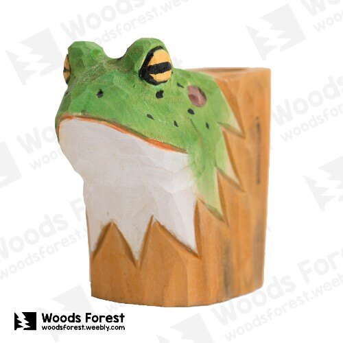 Woods Forest 木雕森林 - 動物木雕筆筒【青蛙】