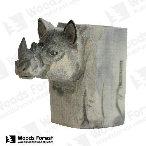 Woods Forest 木雕森林 - 動物木雕筆筒【犀牛】