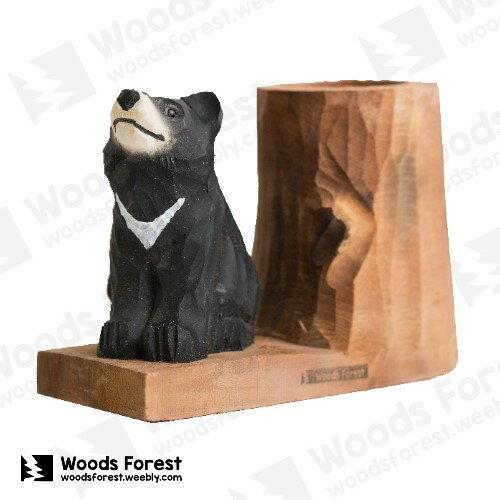 Woods Forest 木雕森林 - 動物木雕筆筒【黑熊】