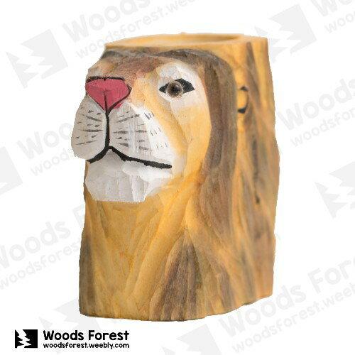 Woods Forest 木雕森林 - 動物木雕筆筒【獅子】
