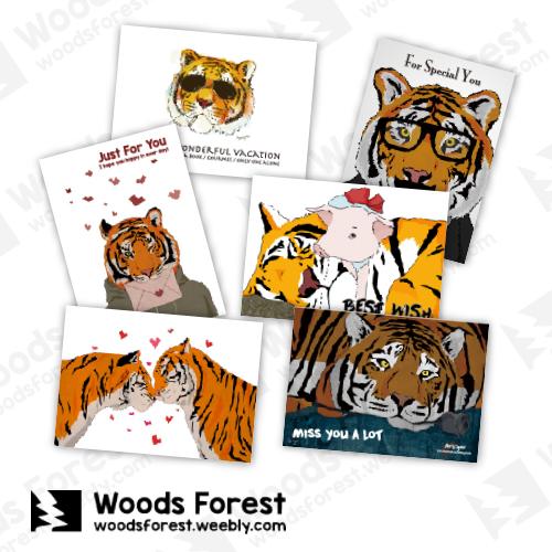Woods Forest 木雕森林 - 【老虎系列】明信片 (6張)