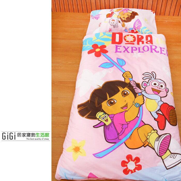 《GiGi居家寢飾生活館》兒童卡通睡袋_台灣製造_朵拉Dora 粉