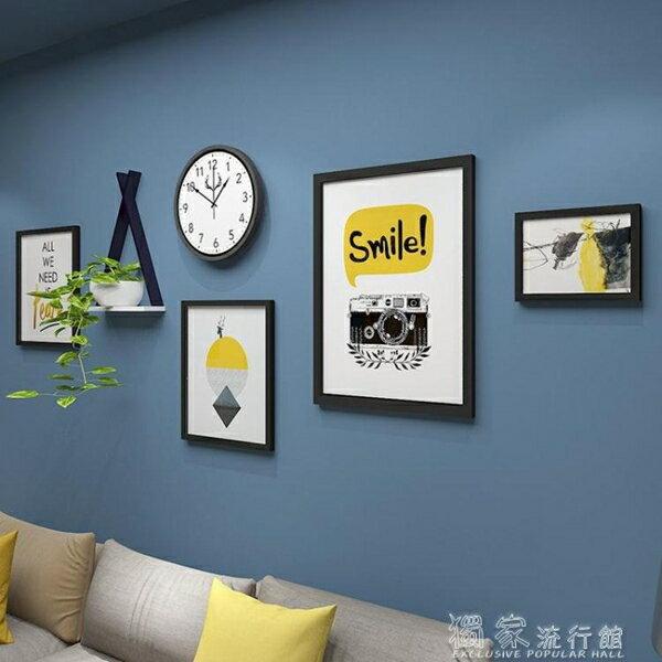 照片墻現代裝飾掛墻鐘表INS風格實木相框組合簡約餐廳客廳置物架照片墻【天天特賣工廠店】