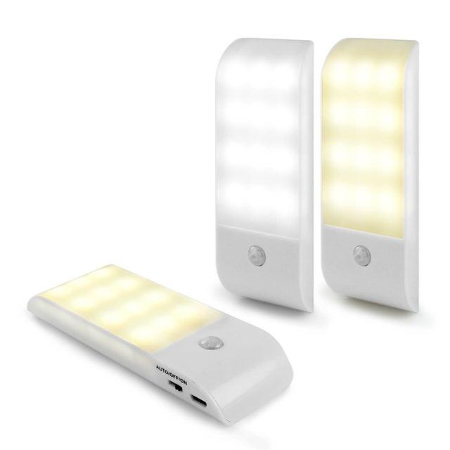 USB充電式 迷你智能LED人體感應照明燈 LED燈 人體感應燈 紅外線感應 樓梯燈 照明燈 探照燈 小夜燈
