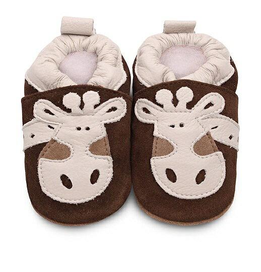 【hella 媽咪寶貝】英國 shooshoos 安全無毒真皮手工鞋/學步鞋/嬰兒鞋 棕色/米白長頸鹿(公司貨)