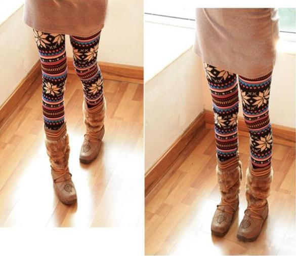 Knitted Colorful Crystal Pattern Graffiti Leggings Winter Tights Pants 2
