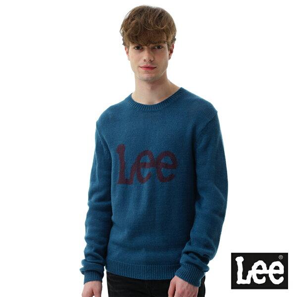 Lee Jeans tw:【2017秋冬新品全面8折】LeeLEELOGO毛衣-男款-藍紫色【單筆消費滿1000元全會員結帳輸入序號『CNY100』↘折100
