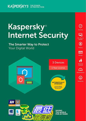 [7美國直購] 2018 amazon 亞馬遜暢銷軟體 Kaspersky Internet Security 2018  3 Device 1 YearKey Code