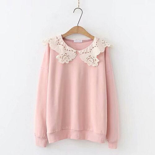 日系森女系花邊蕾絲領女式毛圈棉長袖衛衣(3色F碼)【OREAD】 2