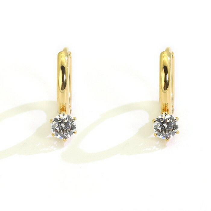 316L醫療鋼 六爪單鑽天然白水晶 耳環耳圈扣-金 防抗過敏 單支販售