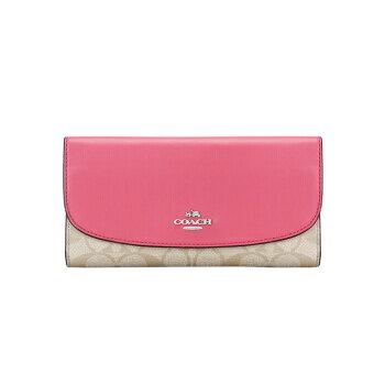 COACH奢侈品女款卡其粉色PVC配皮長款錢包錢夾F57319IMLOO