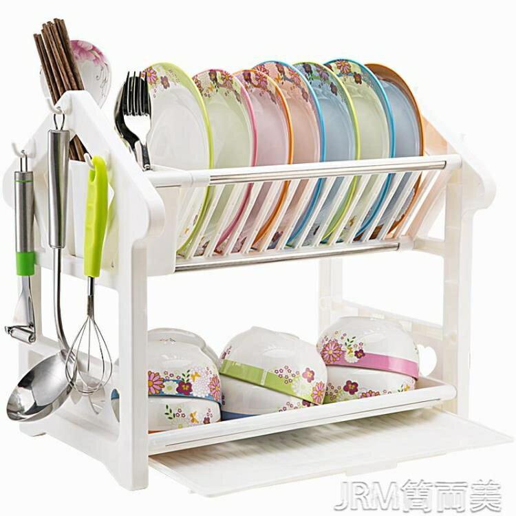 碗架碗碟瀝水架碗柜廚房置物架放碗用品家用大全碗筷收納盒塑料 快速出貨YJT