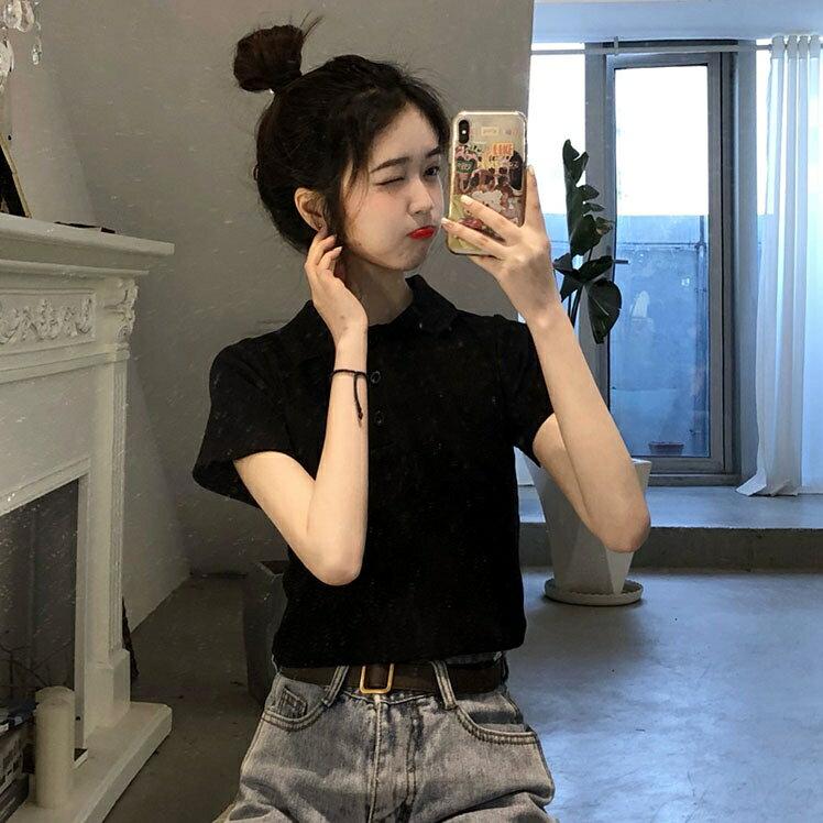 POLO衫 夏季韓版2020新款POLO修身顯瘦露臍短款小個子短袖T恤上衣女ins潮  潮流居家 雙11