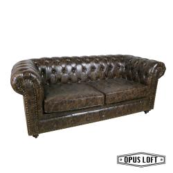 ★熱銷★復古LOFT工業風 鉚釘 經典款 軟皮 雙人沙發 皮革沙發 深褐色沙發