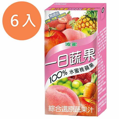 波蜜 一日蔬果100%水蜜桃蘋果汁 160ml (6入)/組