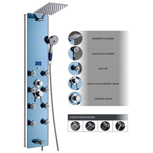 AKDY AK-878392H Tempered Glass Shower Panel Rain Style Massage System 0