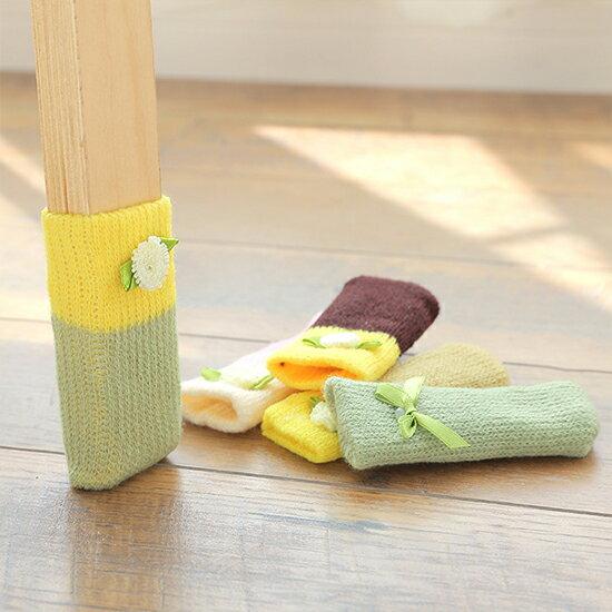 ♚MY COLOR♚針織毛線桌椅腳套(4入) 桌腳墊 椅子套 安全 防刮傷地板 耐用 可愛 桌腳套 地板保護套【B67】