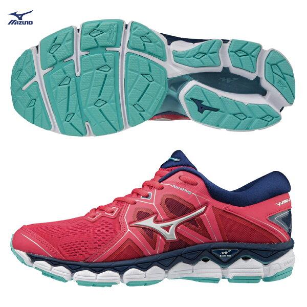 J1GD180239(珊瑚紅X白X藏藍)WAVESKY2(W)女慢跑鞋【美津濃MIZUNO】
