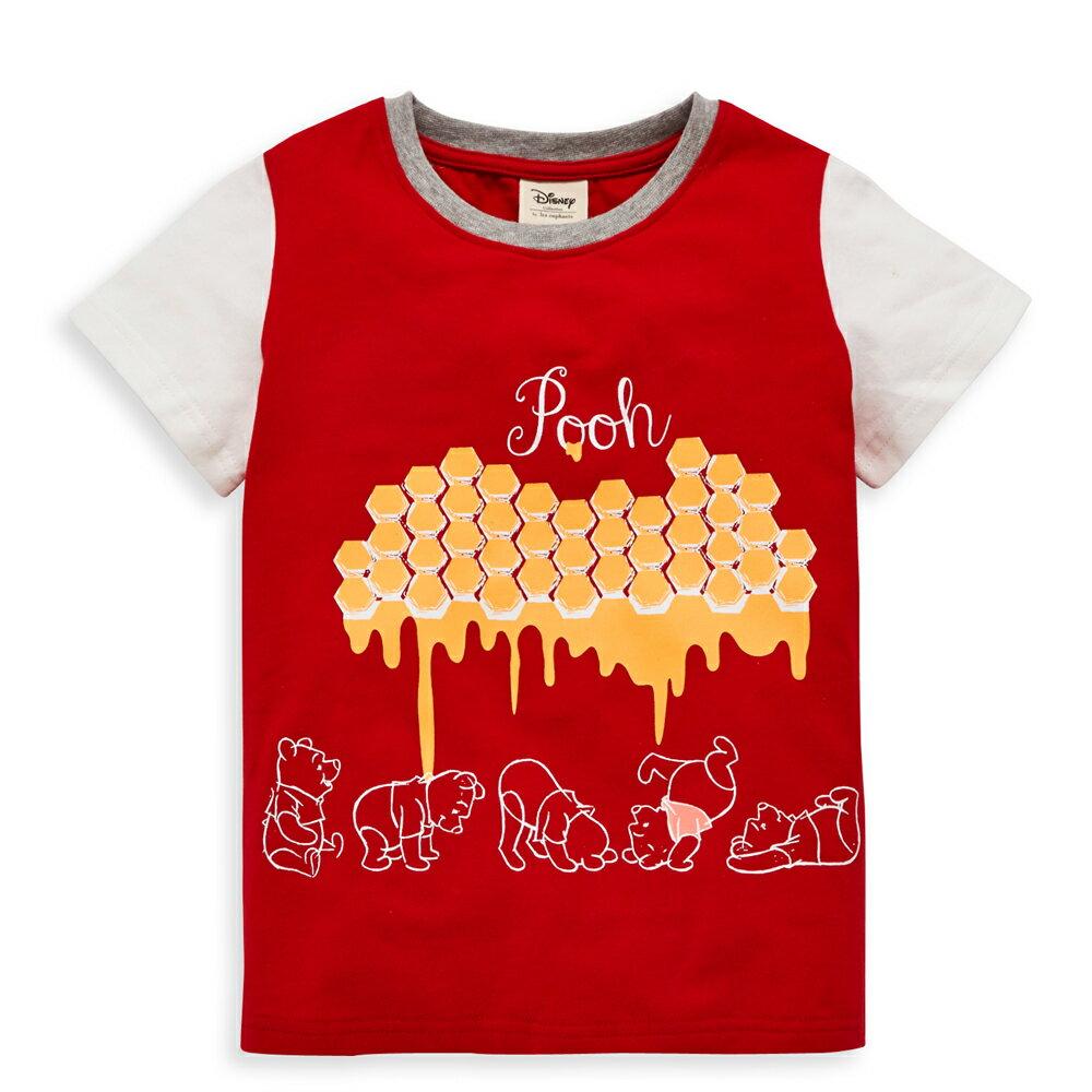 Disney baby 維尼系列焦糖短袖上衣-紅色