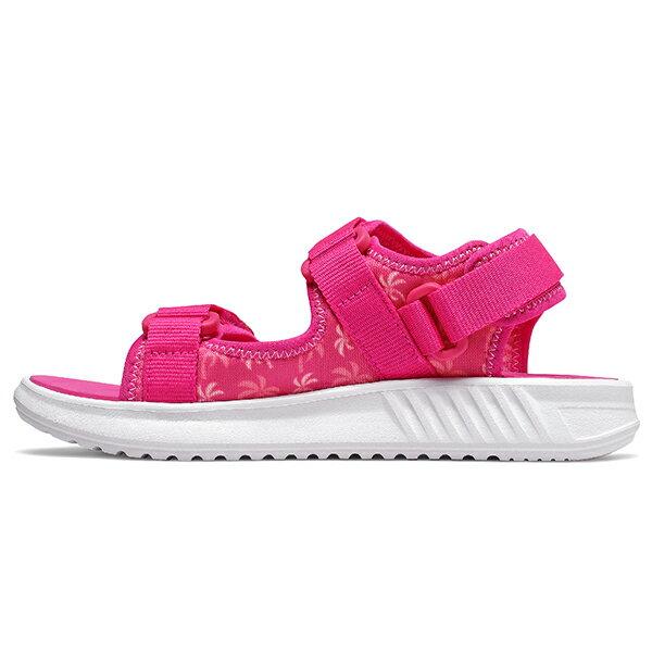 Shoestw【YH750PP】NEW BALANCE NB750 涼鞋 涼拖鞋 運動涼鞋 童鞋 中童鞋 黏帶 椰子樹 桃紅白 大人女生可穿 1