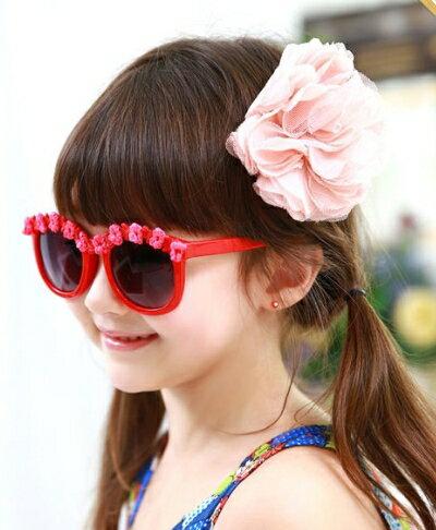Kocotree◆夏日海洋風可愛花朵鏡框兒童防紫外線護目太陽眼鏡-紅色