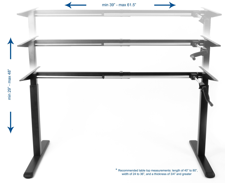 VIVO Black Manual Height Adjustable Stand Up Desk Frame Crank System Ergonomic Standing Workstation (DESK-V101M) 1