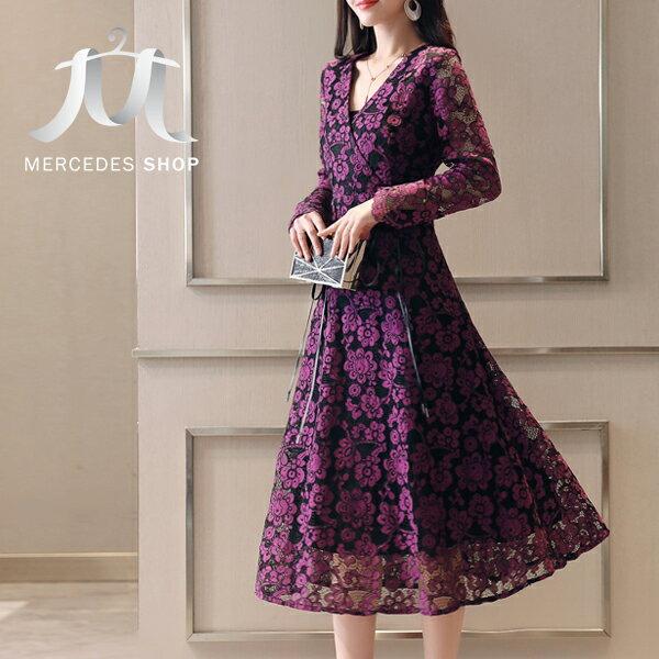 《全店75折》中大尺碼韓國V領優質蕾絲顯瘦連身裙長袖洋裝(S-2XL,4色)-梅西蒂絲(現貨+預購)