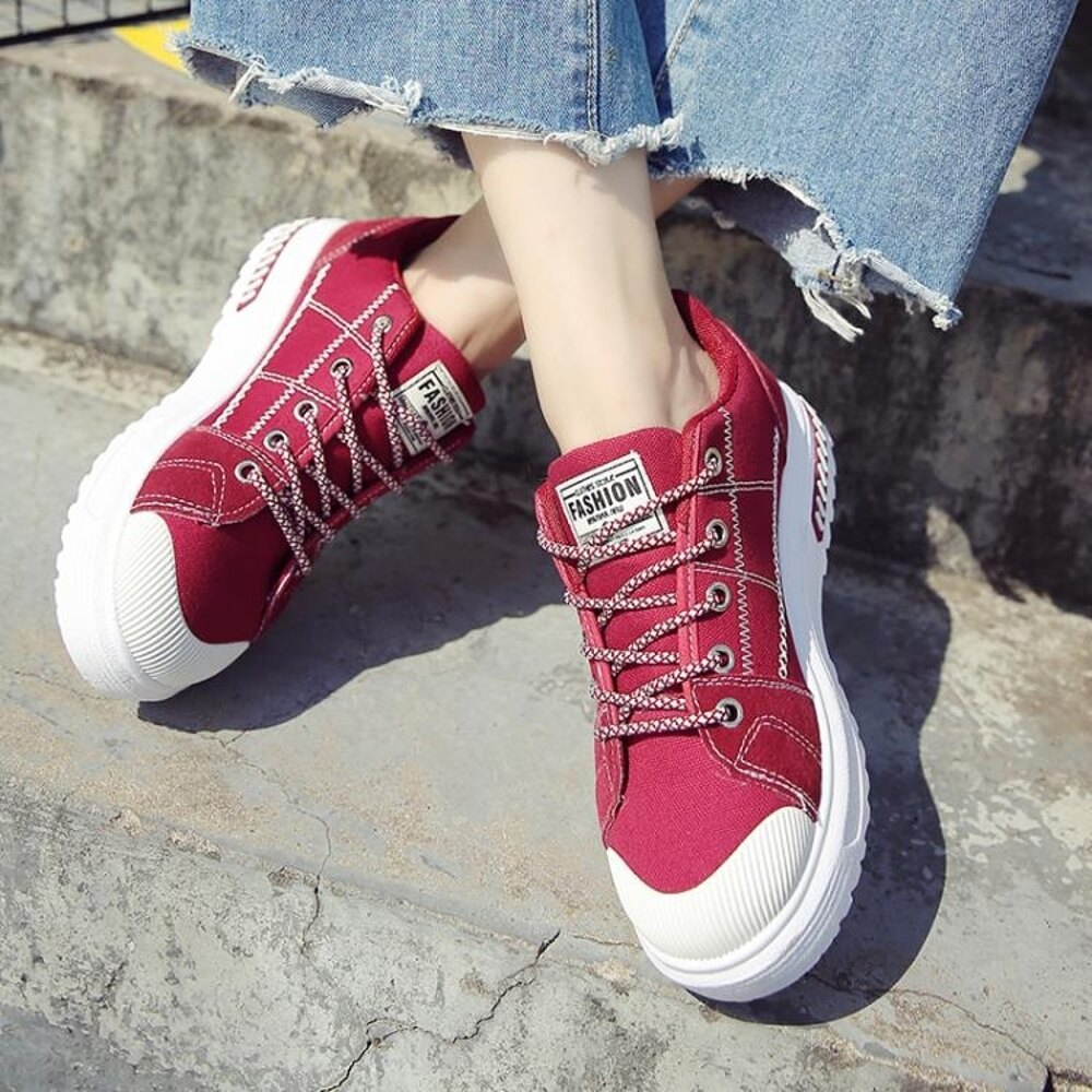 帆布鞋帆布小白鞋女秋季新款休閒鞋韓版百搭透氣學生繫帶平底板鞋子 99免運