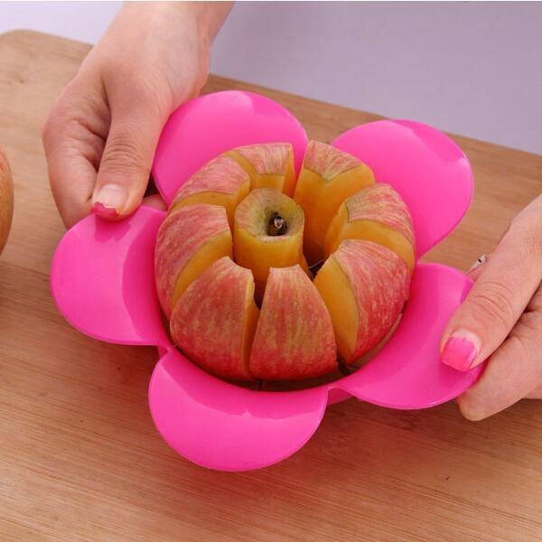 BO雜貨【SV9532】創意花朵造型簡易切果器 優質花型不锈鋼切果器 梨子 水梨 蘋果 切片器