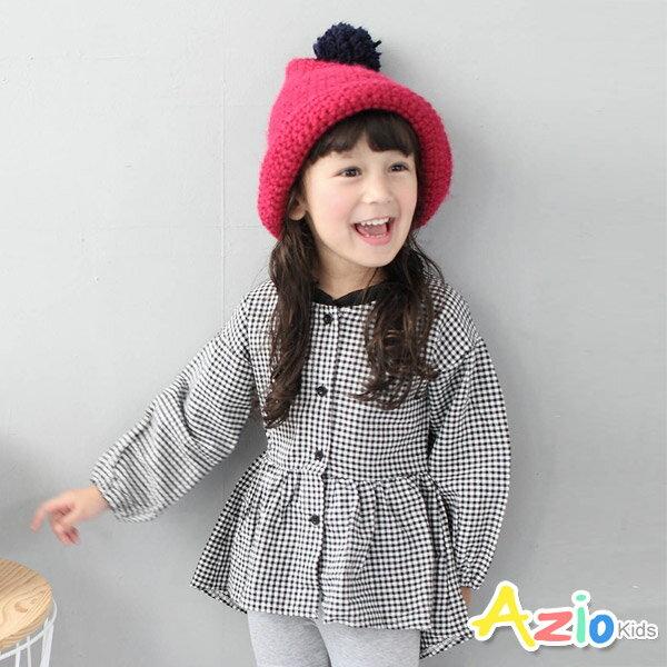 ~Azio Kids 美國派 ~上衣 格紋排釦傘擺長袖上衣 黑白格