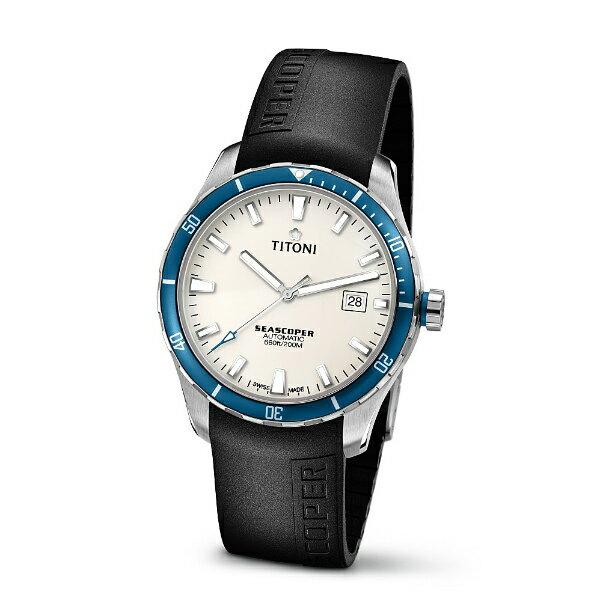 TITONI瑞士梅花錶83985SBB-RB-516Seascoper系列專業潛水機械腕錶/白面41mm