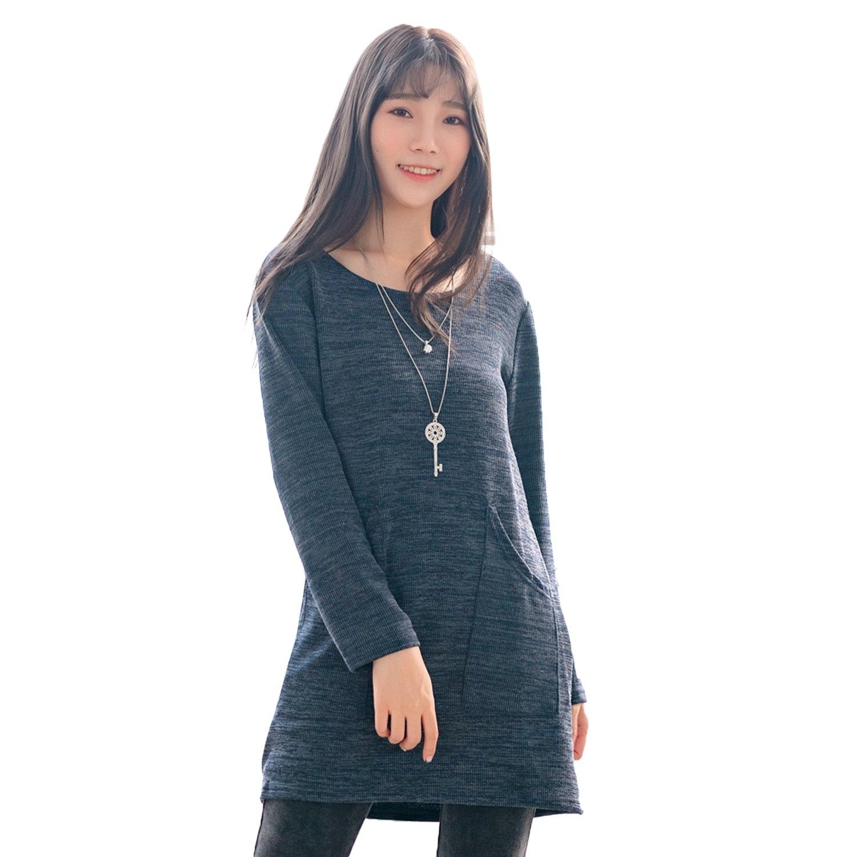 長上衣--優雅簡約造型口袋寬鬆修身顯瘦針織圓領長袖上衣(紅.藍L-3L)-X348眼圈熊中大尺碼 0