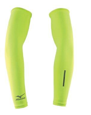 [陽光樂活]  MIZUNO 美津濃  袖套 螢光綠 吸汗快乾 伸縮性佳 彈性布種 螢光黃 反光印花- 32TY4G0236 螢光黃綠