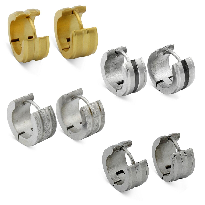 56cc52f7f62 Huggie Wide Hoop Earrings Stainless Steel Fashion Jewelry Ear Hug Hoops  Hinge Clasp Gift for Men