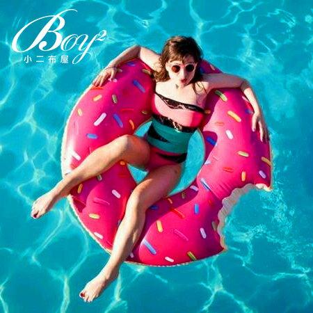 ☆BOY-2☆【NQYJ002】甜甜圈造型泳圈水上浮床(附贈手動打氣筒)