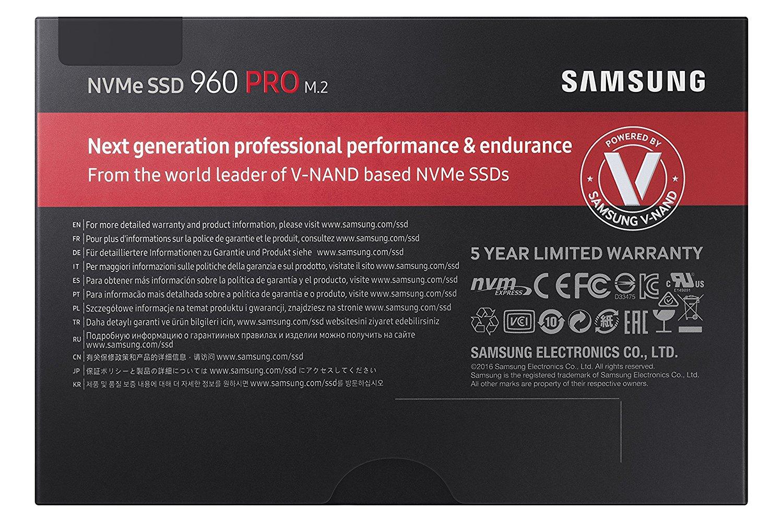 Samsung SSD 960 Pro 512GB M.2 2280 512G PCIe Gen3 x4 PCI-Express 3.0 x4 NVMe 3D V-NAND Internal Solid State Drive MZ-V6P512BW 1