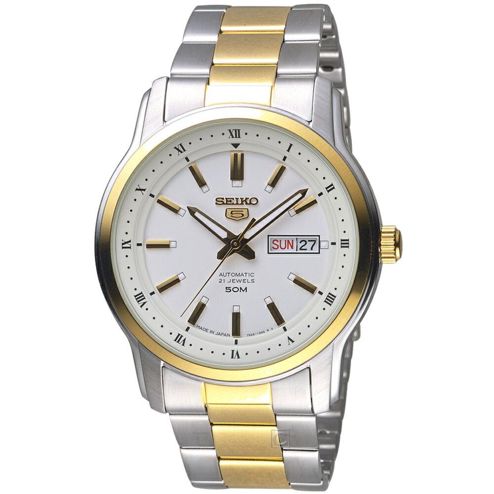 SEIKO精工 5號21石盾牌羅馬機械腕錶 7S26-04S0KS SNKP14J1