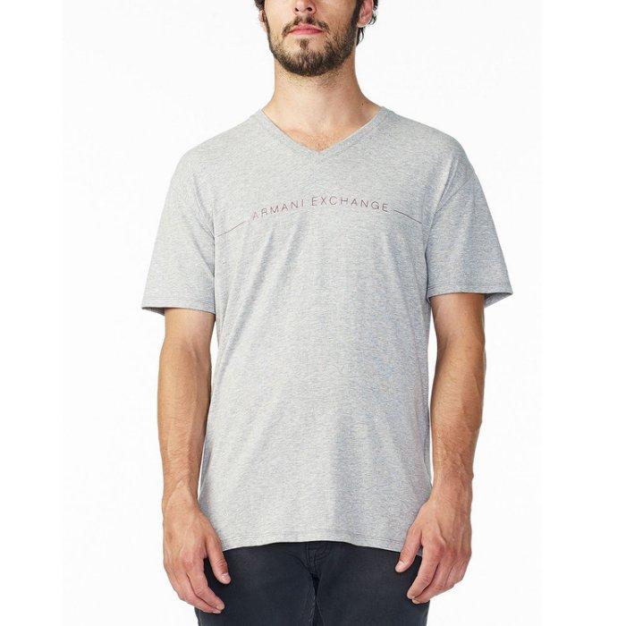 美國百分百【Armani Exchange】T恤 AX 短袖 logo 短T 上衣 T-shirt V領 灰色 M號 H857