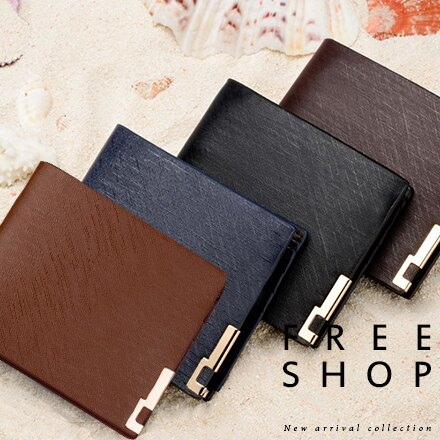 皮夾 Free Shop【QFSRS9130】韓國都會型男雅痞 斜紋面時尚對折橫款短夾質感錢包皮夾皮包 黑色咖啡色