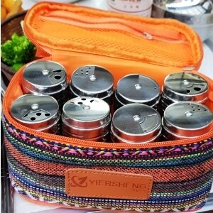 美麗大街【106101229】家庭旅行露營必備民族風8入一組不銹鋼胡椒罐