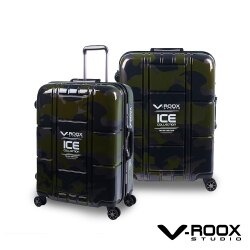 V-ROOX ICE 22吋 不敗迷彩時尚行李箱 硬殼鋁框旅行箱-迷彩綠