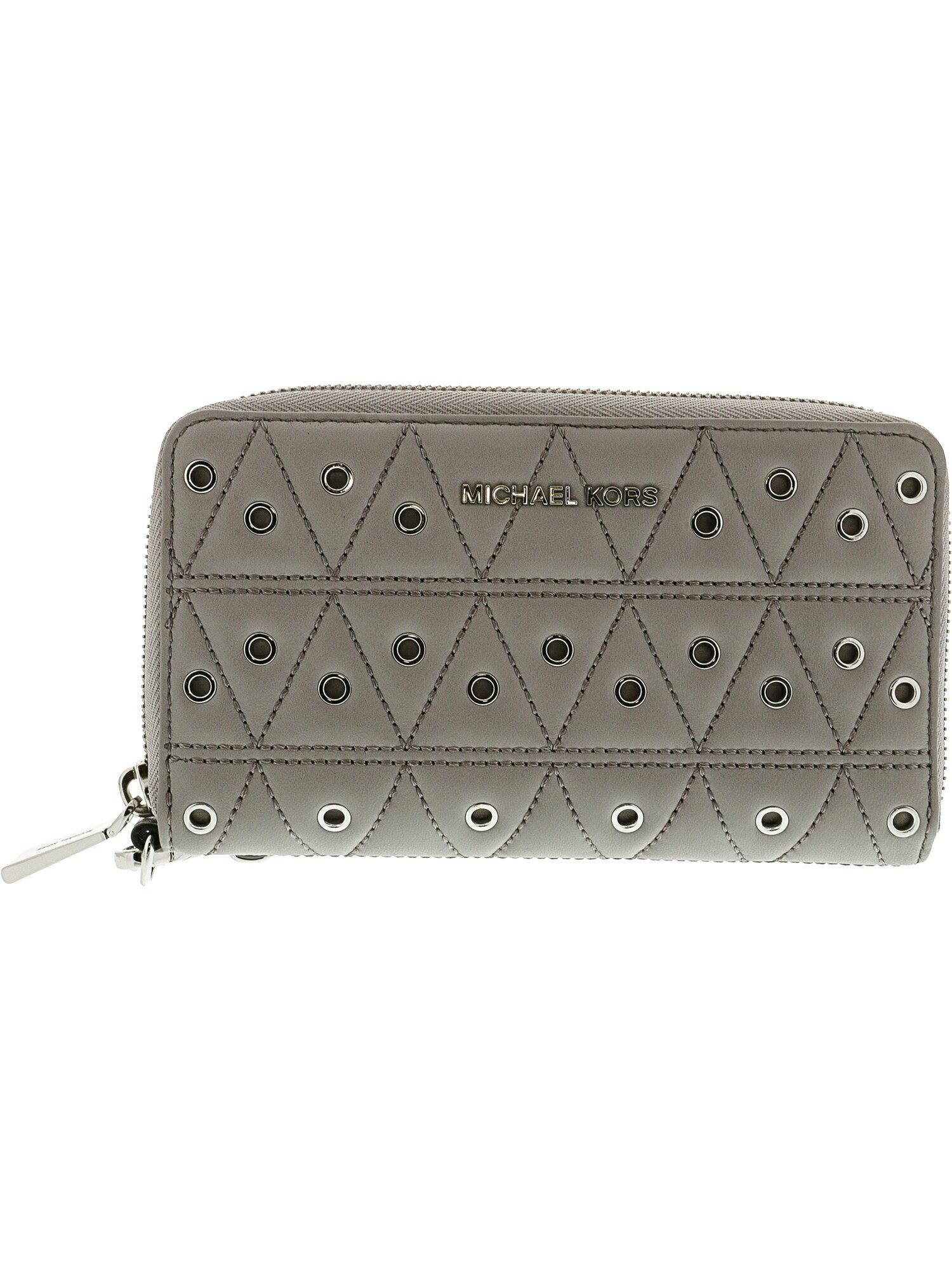 909b1863c6aee0 Michael Kors Women's Large Flat Phone Case Leather Wristlet - Pearl Grey 0