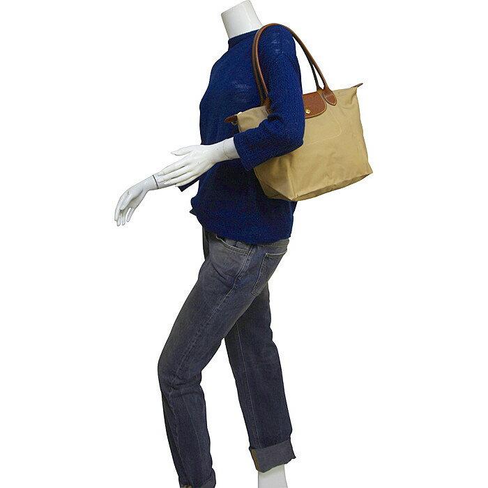 [2605-S號] 國外Outlet代購正品 法國巴黎 Longchamp 長柄 購物袋防水尼龍手提肩背水餃包 卡其色 4