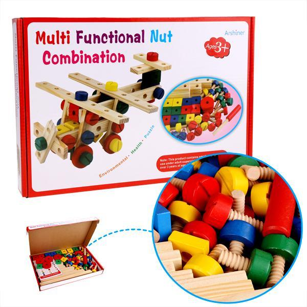 Baby 78 PCS Multi Functional Wooden Nuts and Bolts Combination Toys Building Construction Set 5