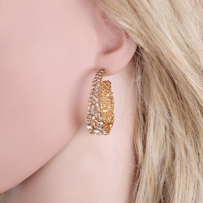 925純銀耳環水鑽耳飾-時尚精緻華麗C形情人節生日禮物女飾品73jm202【獨家進口】【米蘭精品】