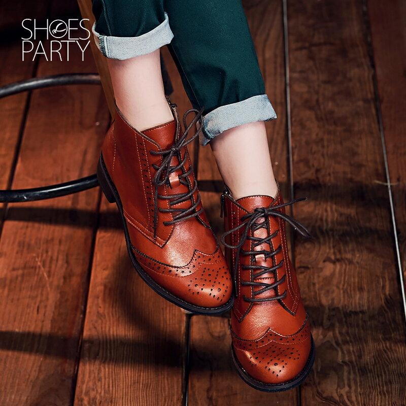 【B2-16819L】真皮綁帶牛津短筒靴_Shoes Party 2