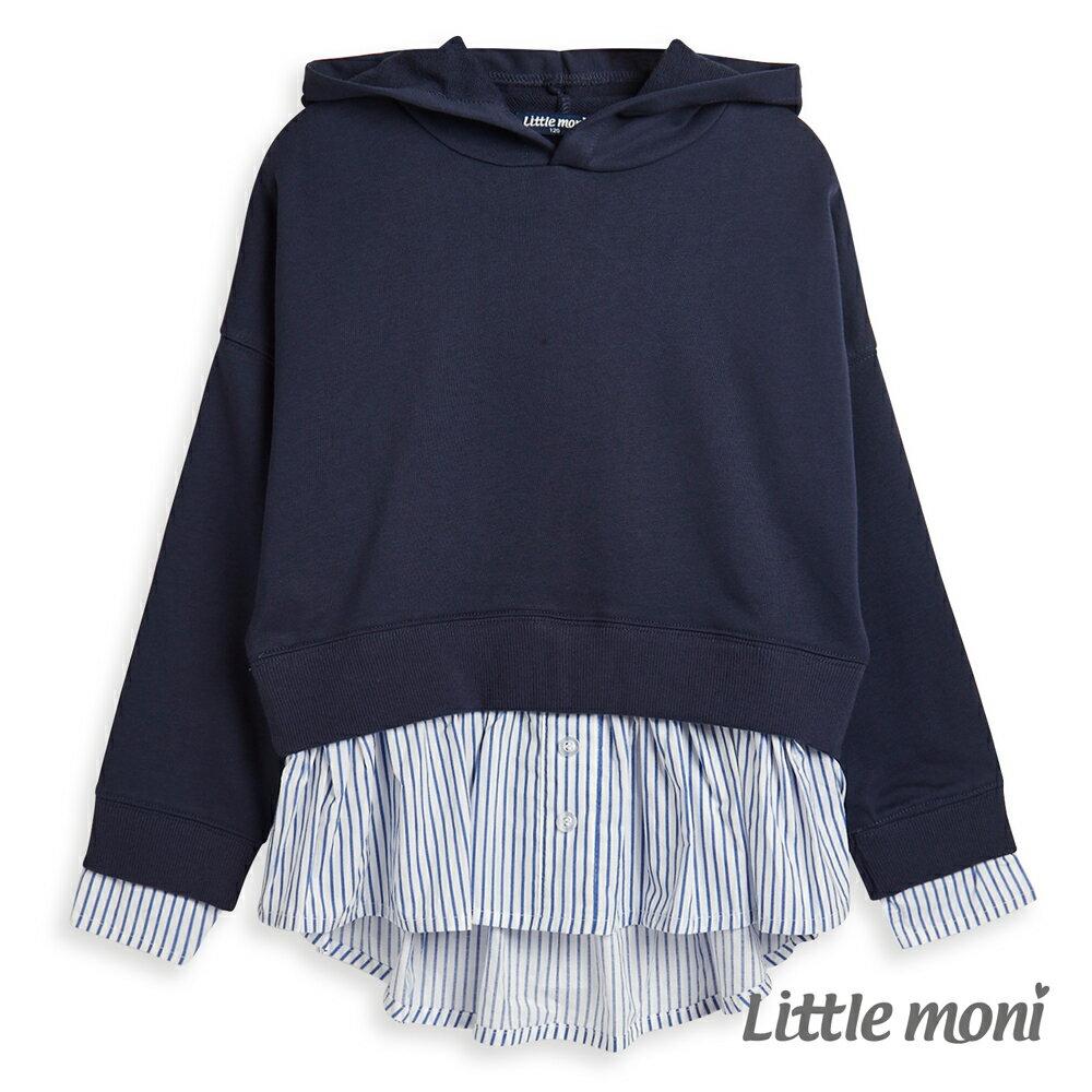 Little moni 連帽假兩件造型上衣 -深藍(好窩生活節) 0