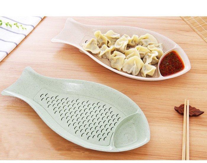 創意魚形水餃盤 小麥小魚造型餐盤 水果盤 天然麥稈製造