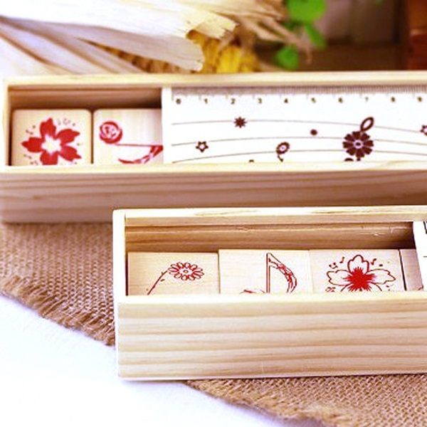 ~MY COLOR~木質印章鉛筆盒 卡片 相冊 木盒 獎品 字母 銅扣  DIY 文具 學